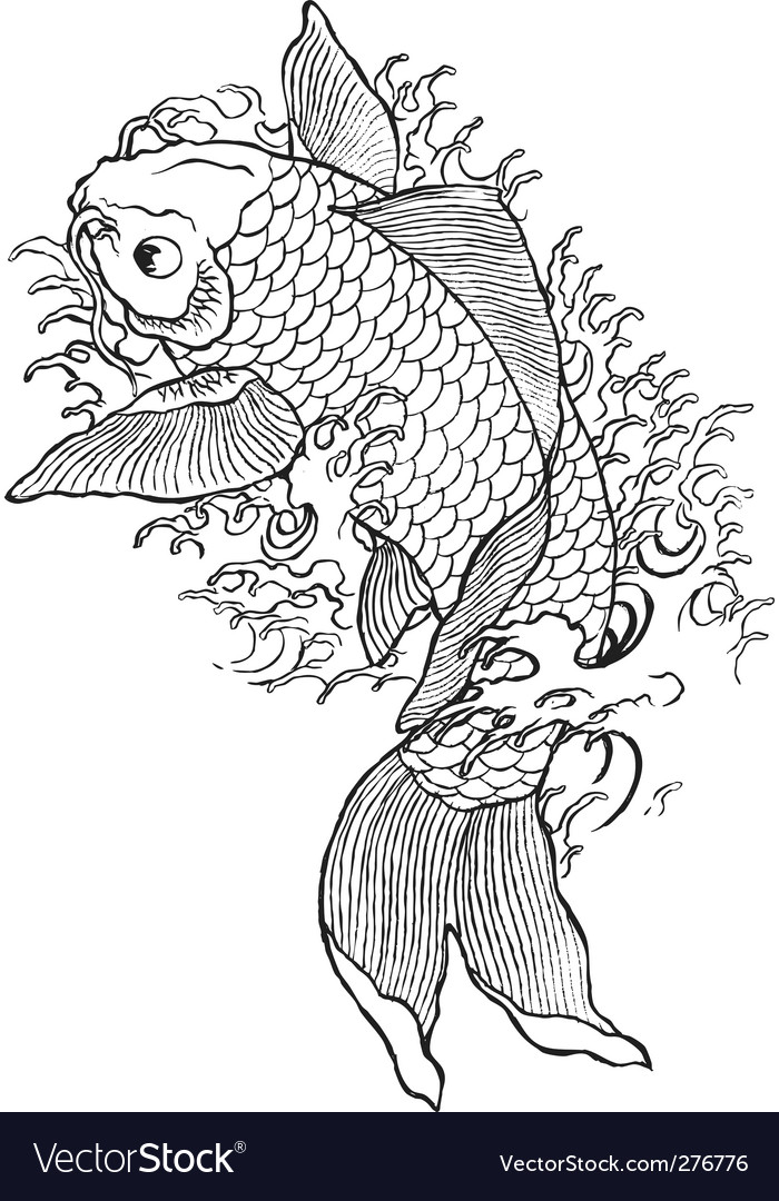 Hand drawn koi fish vector | Price: 1 Credit (USD $1)