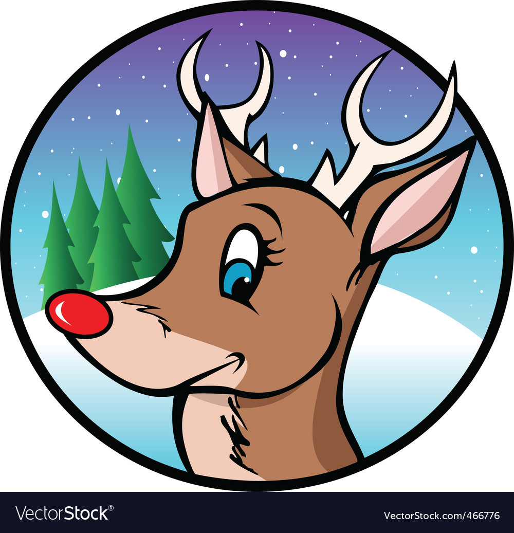 Rudolph reindeer cartoon vector | Price: 1 Credit (USD $1)