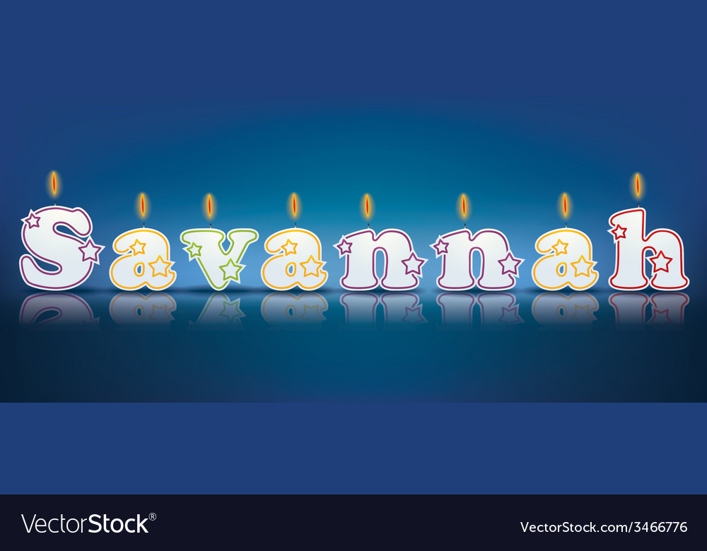 Savannah written with burning candles vector | Price: 1 Credit (USD $1)
