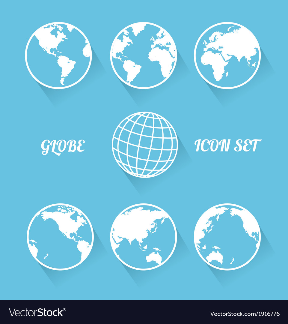 Vecrot globe icon set modern flat style vector | Price: 1 Credit (USD $1)