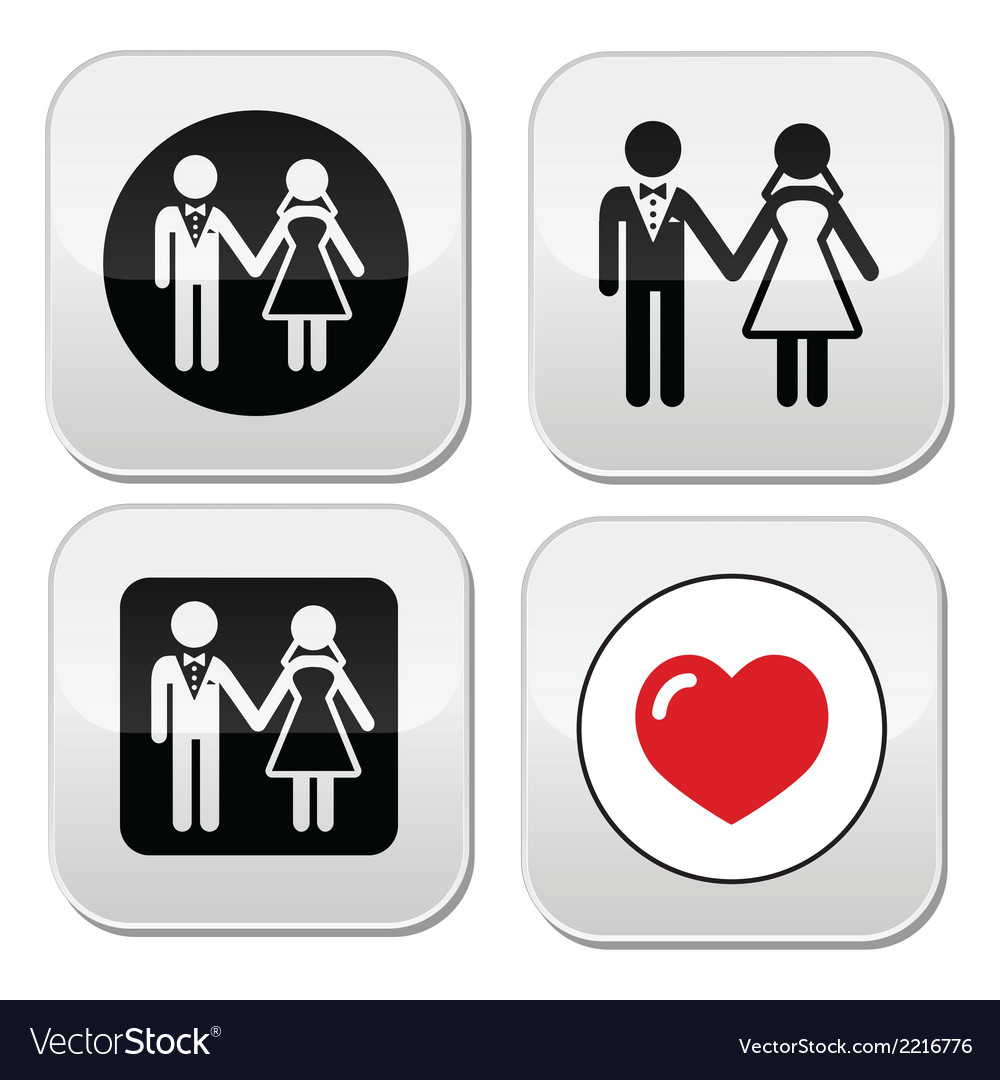 Wedding married couple white icon set on black vector | Price: 1 Credit (USD $1)