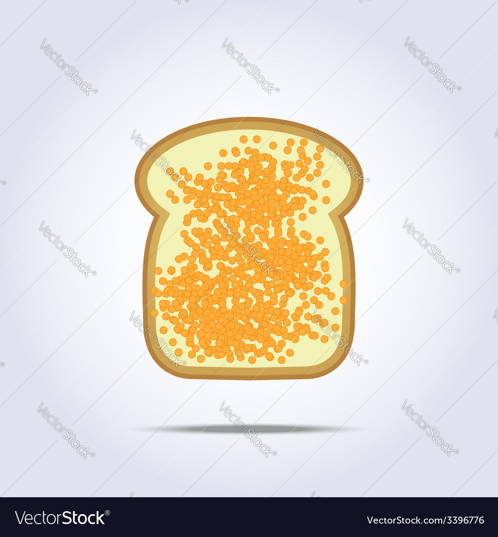 White bread toast icon with caviar vector | Price: 1 Credit (USD $1)