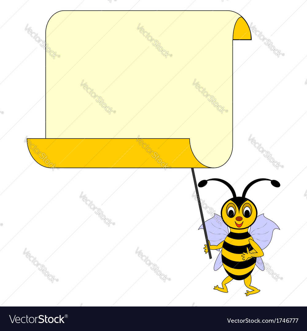 A funny cartoon bee with a big blank paper vector | Price: 1 Credit (USD $1)