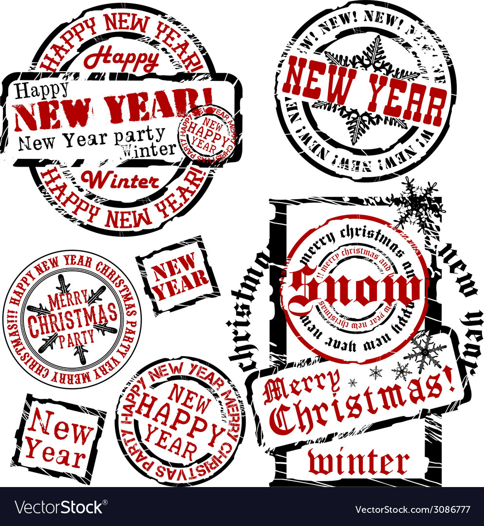 Cristmas and new year emblems vector | Price: 1 Credit (USD $1)