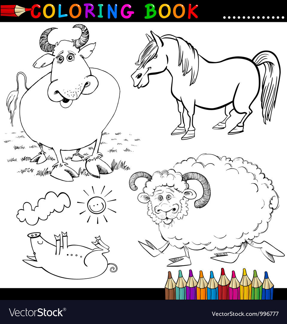 Farm animals for coloring book or page vector | Price: 3 Credit (USD $3)