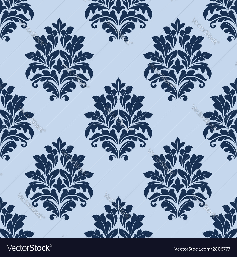 Floral seamless pattern with blue flowers vector | Price: 1 Credit (USD $1)