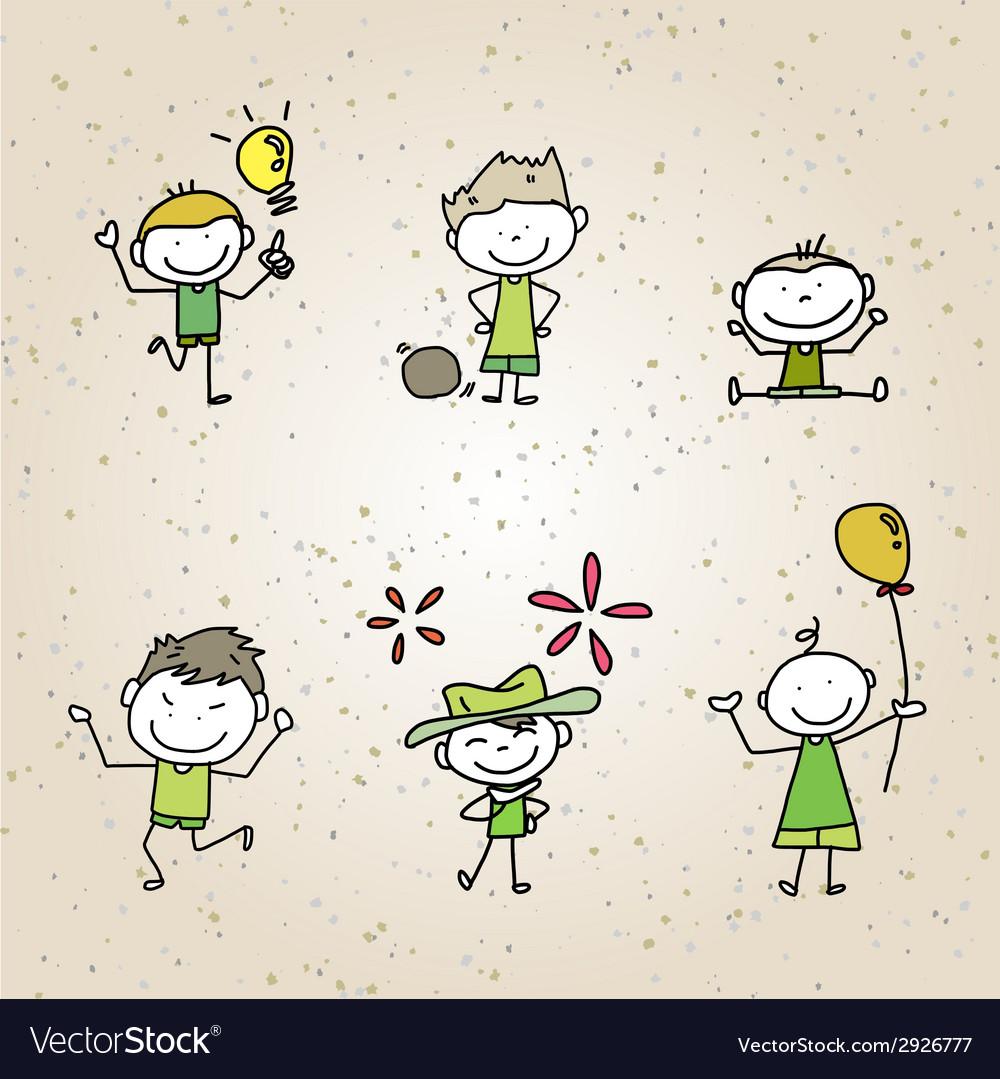 Hand drawing cartoon character happy kids vector   Price: 1 Credit (USD $1)