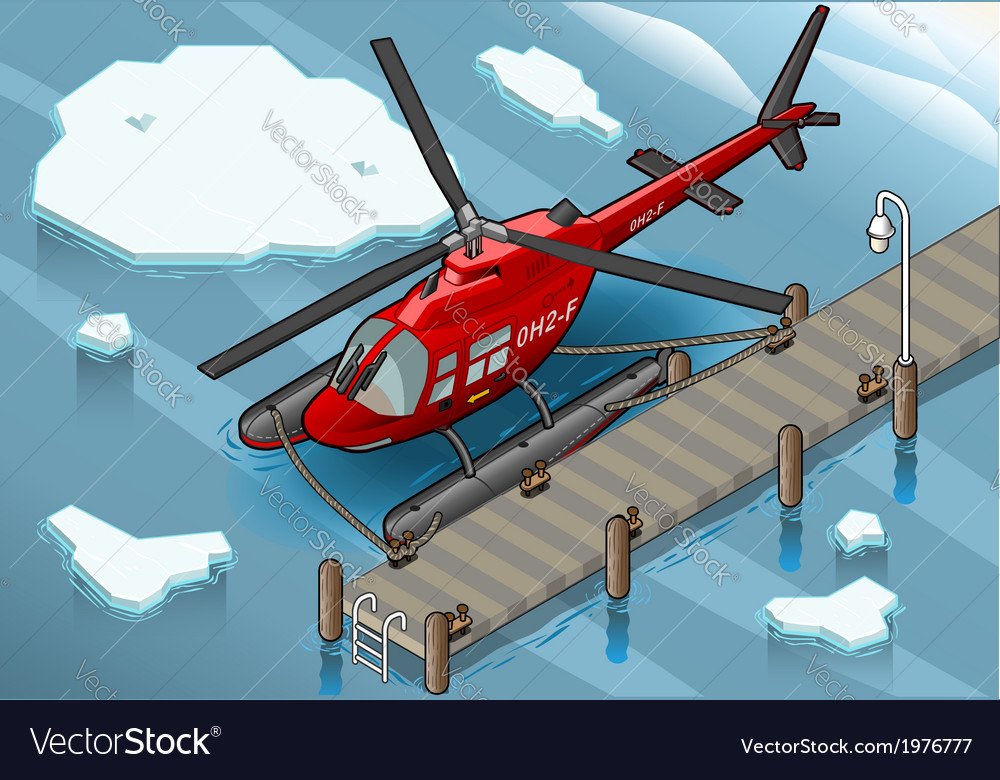 Isometric arctic emergency helicopter at pier vector | Price: 1 Credit (USD $1)