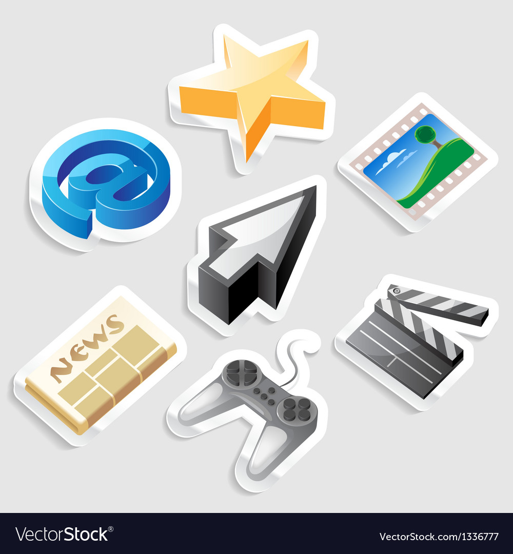 Sticker icon set for interface vector | Price: 1 Credit (USD $1)
