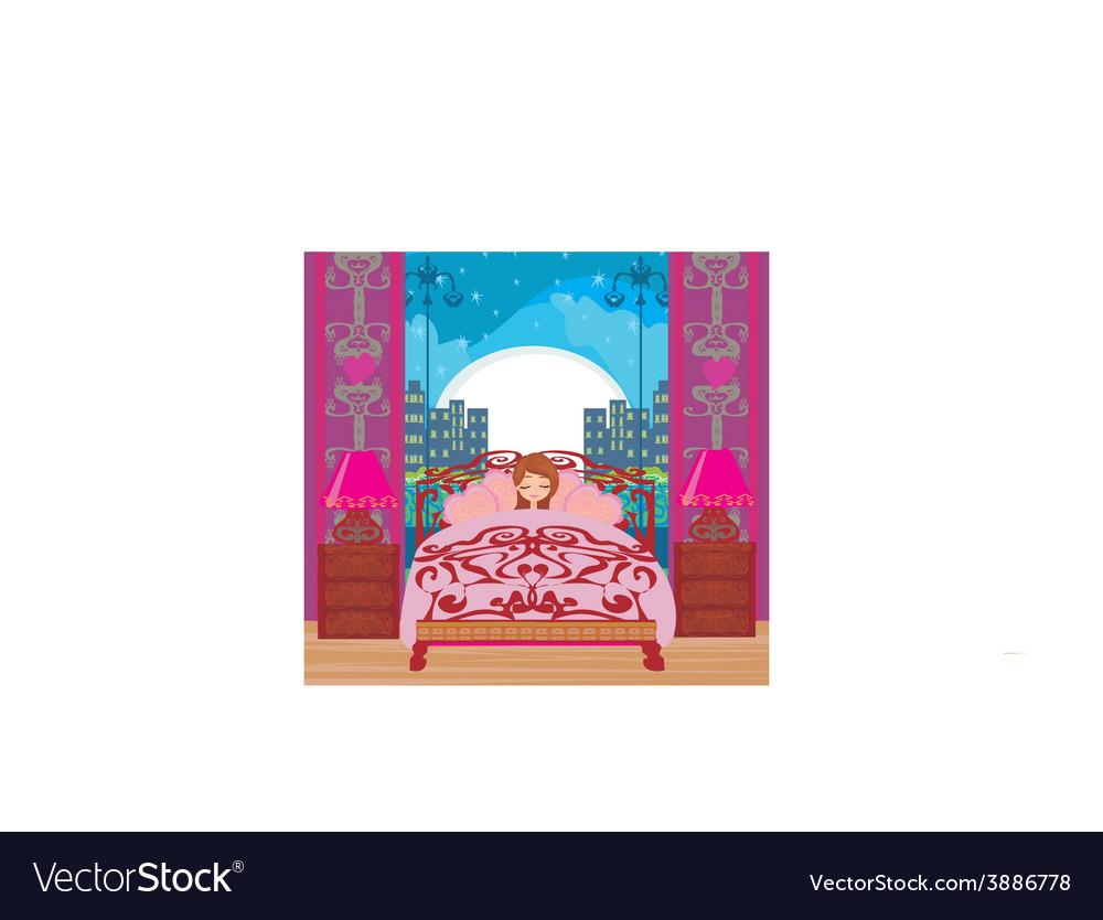 A beautiful girl sleeping in bedroom vector   Price: 1 Credit (USD $1)