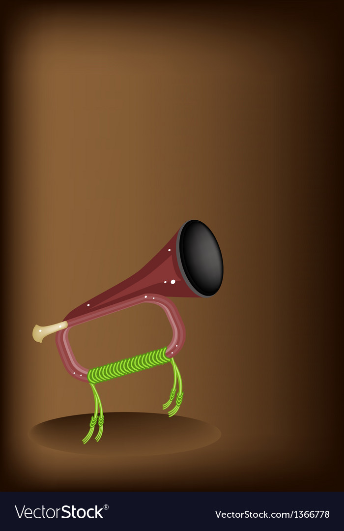 A musical bugle on dark brown background vector | Price: 1 Credit (USD $1)