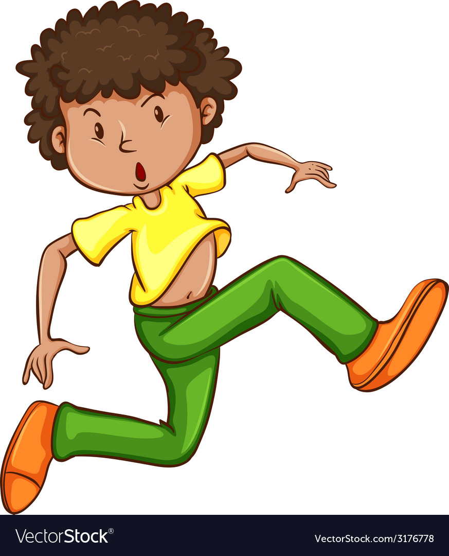 A simple drawing of a young man dancing vector | Price: 1 Credit (USD $1)