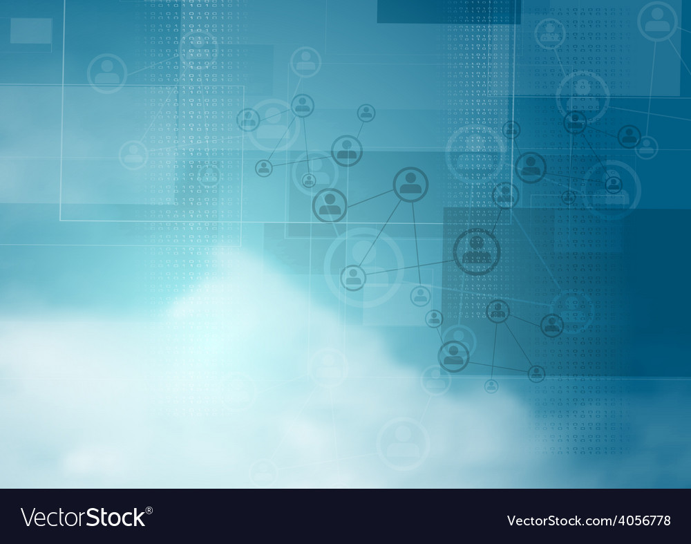 Blue cloudy sky tech background vector | Price: 1 Credit (USD $1)