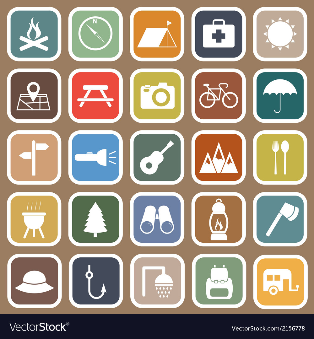 Camping flat icons on brown background vector | Price: 1 Credit (USD $1)