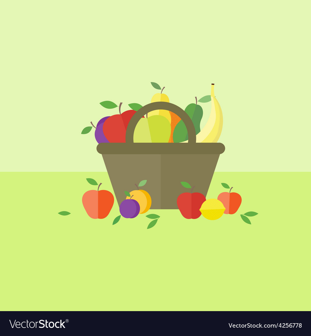 Card with fruits in flat style vector | Price: 1 Credit (USD $1)