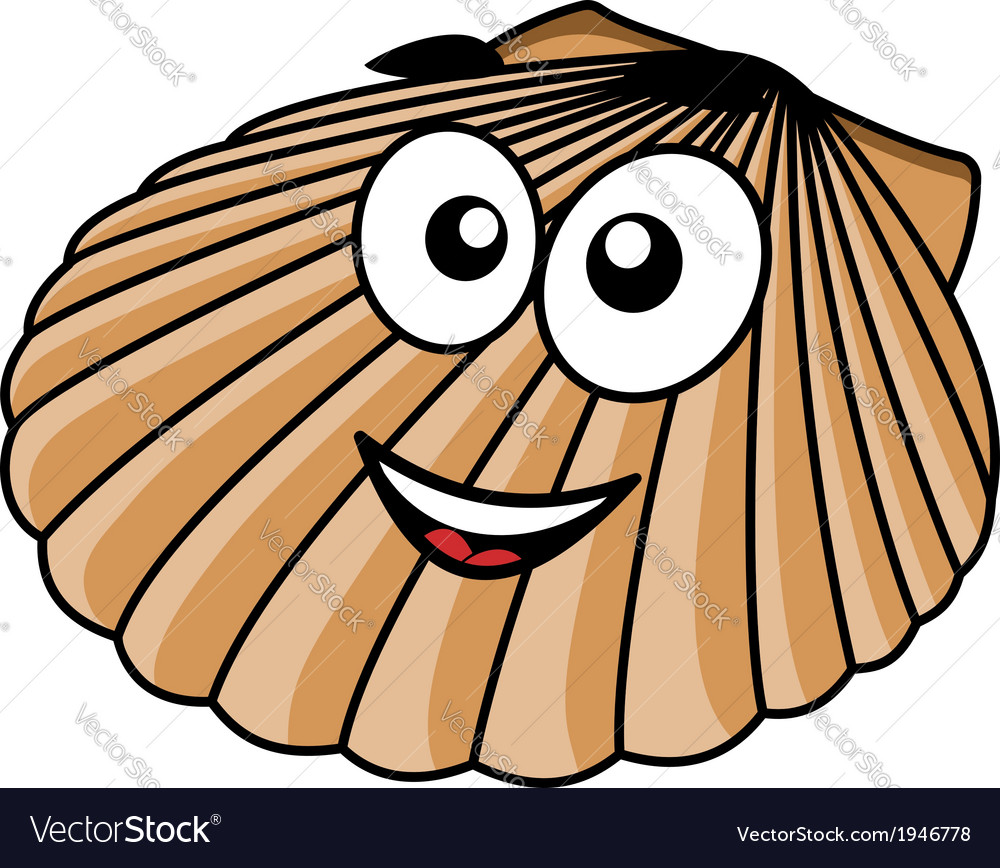 Cartoon seashell with a happy smile vector | Price: 1 Credit (USD $1)