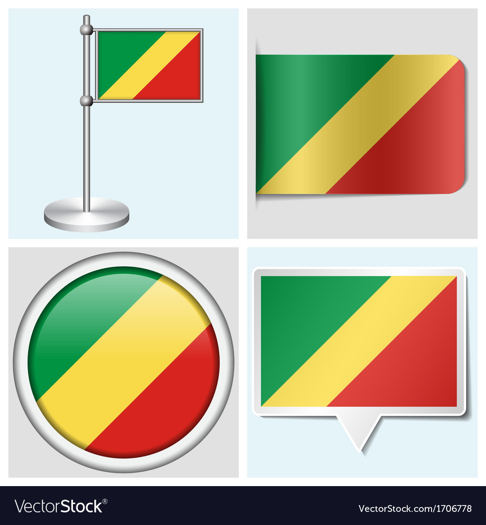 Congo flag - sticker button label flagstaff vector | Price: 1 Credit (USD $1)