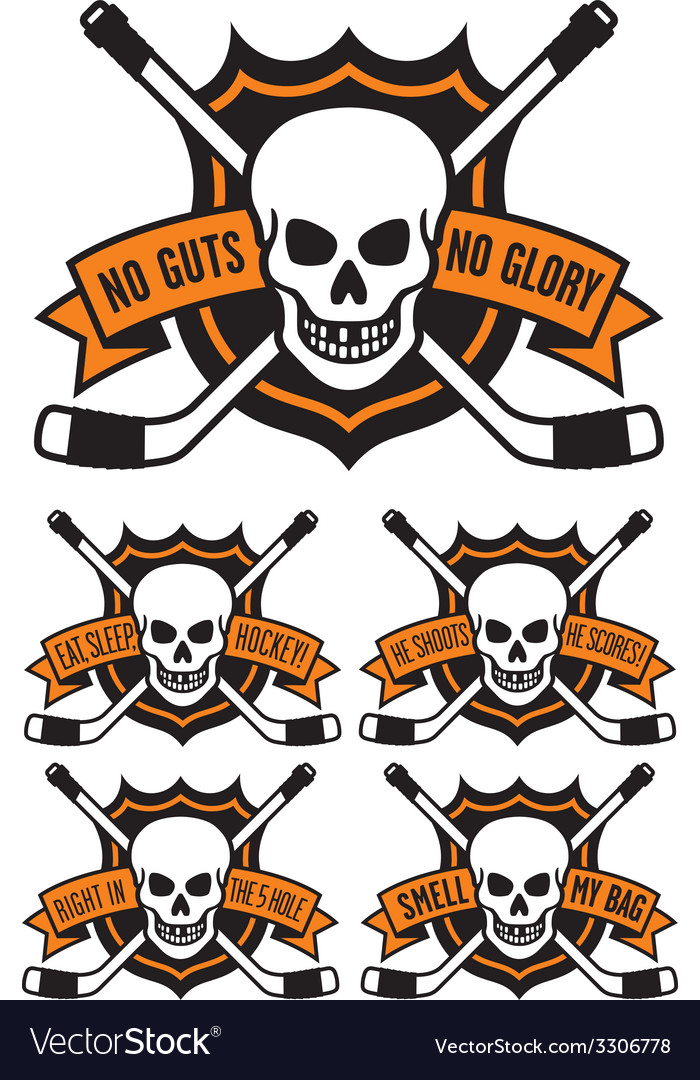Hockey emblem with skull and crossed hockey sticks vector | Price: 1 Credit (USD $1)