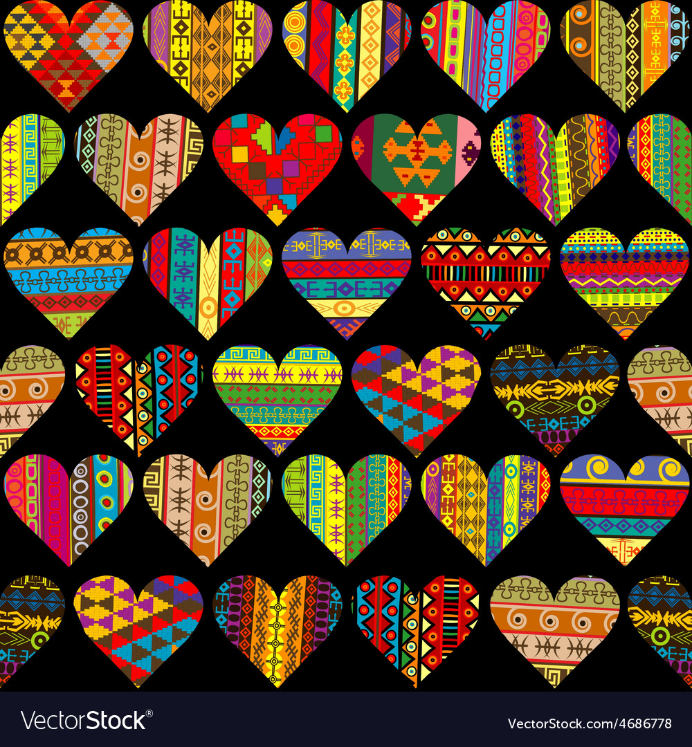 Patterned hearts set seamless background vector | Price: 1 Credit (USD $1)