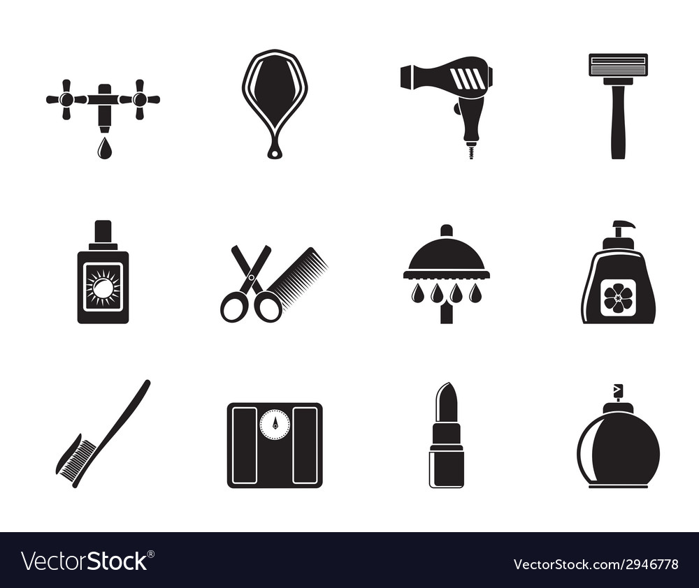 Silhouette personal care and cosmetics icons vector | Price: 1 Credit (USD $1)