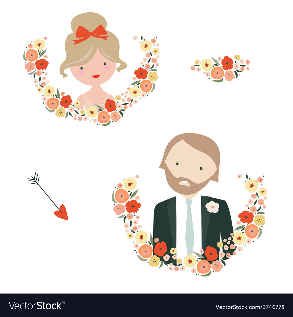 Wedding designs with groom and bride characters vector | Price: 1 Credit (USD $1)
