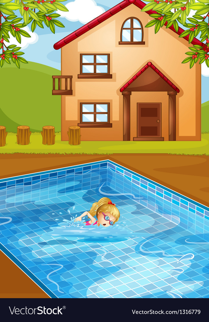 A girl swimming at the pool vector | Price: 1 Credit (USD $1)