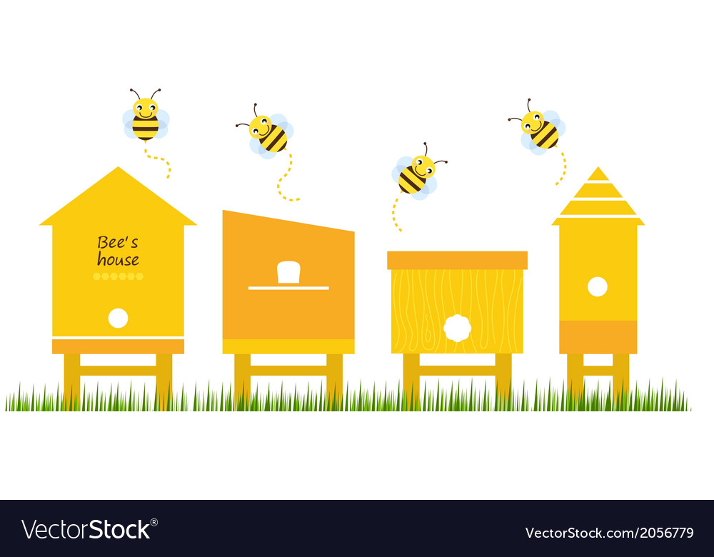 Bee houses spring collection vector | Price: 1 Credit (USD $1)