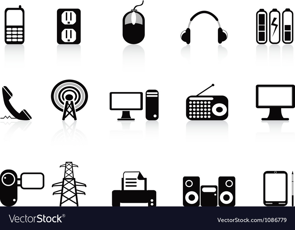 Black electronic icons set vector | Price: 1 Credit (USD $1)