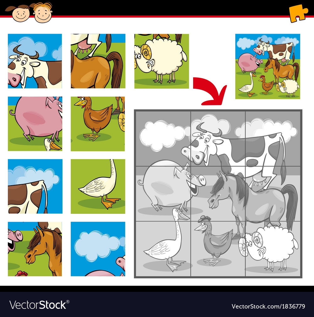 Cartoon farm animals jigsaw puzzle vector | Price: 1 Credit (USD $1)