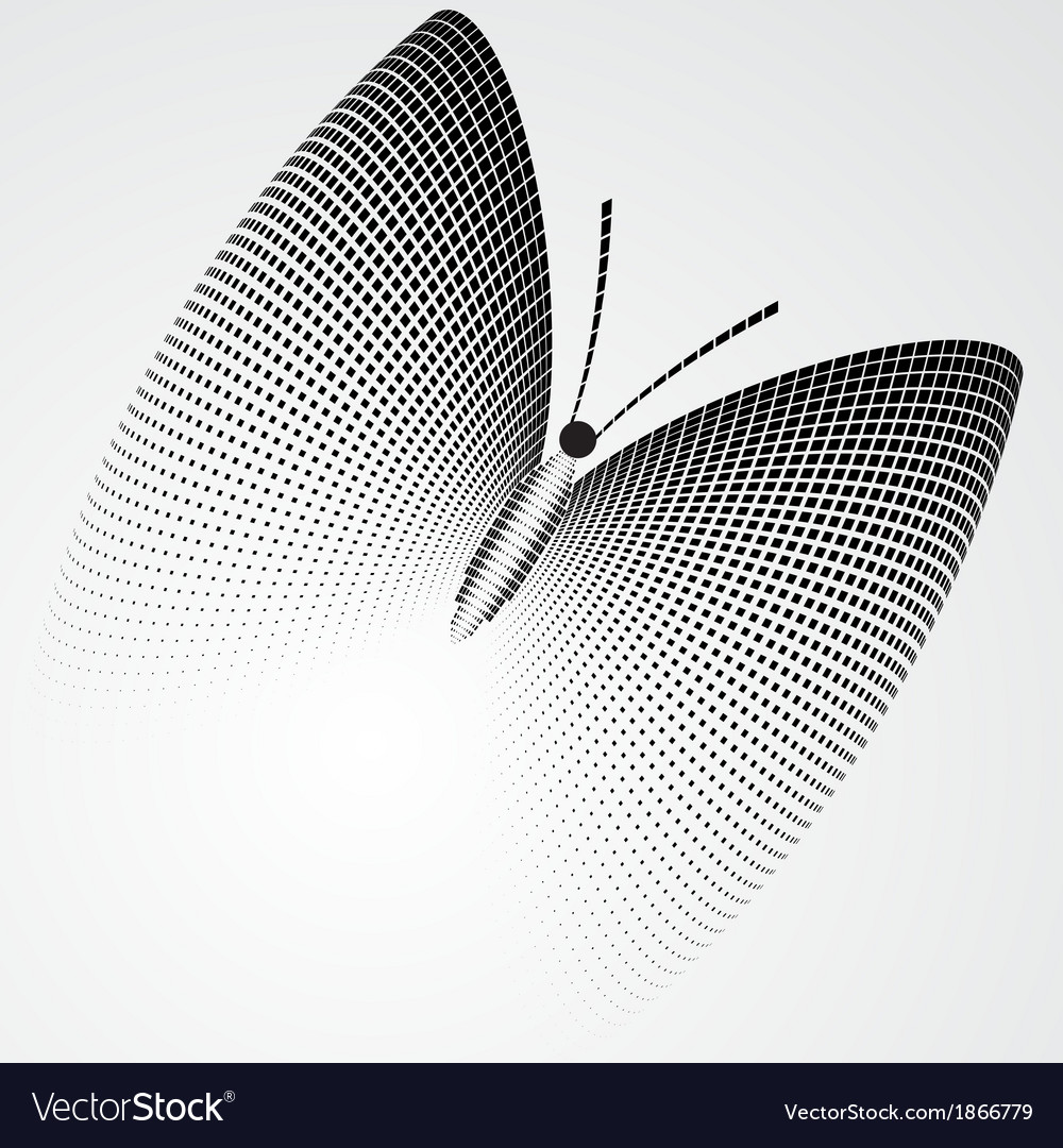 Halftone butterfly black and white abstract figure vector | Price: 1 Credit (USD $1)