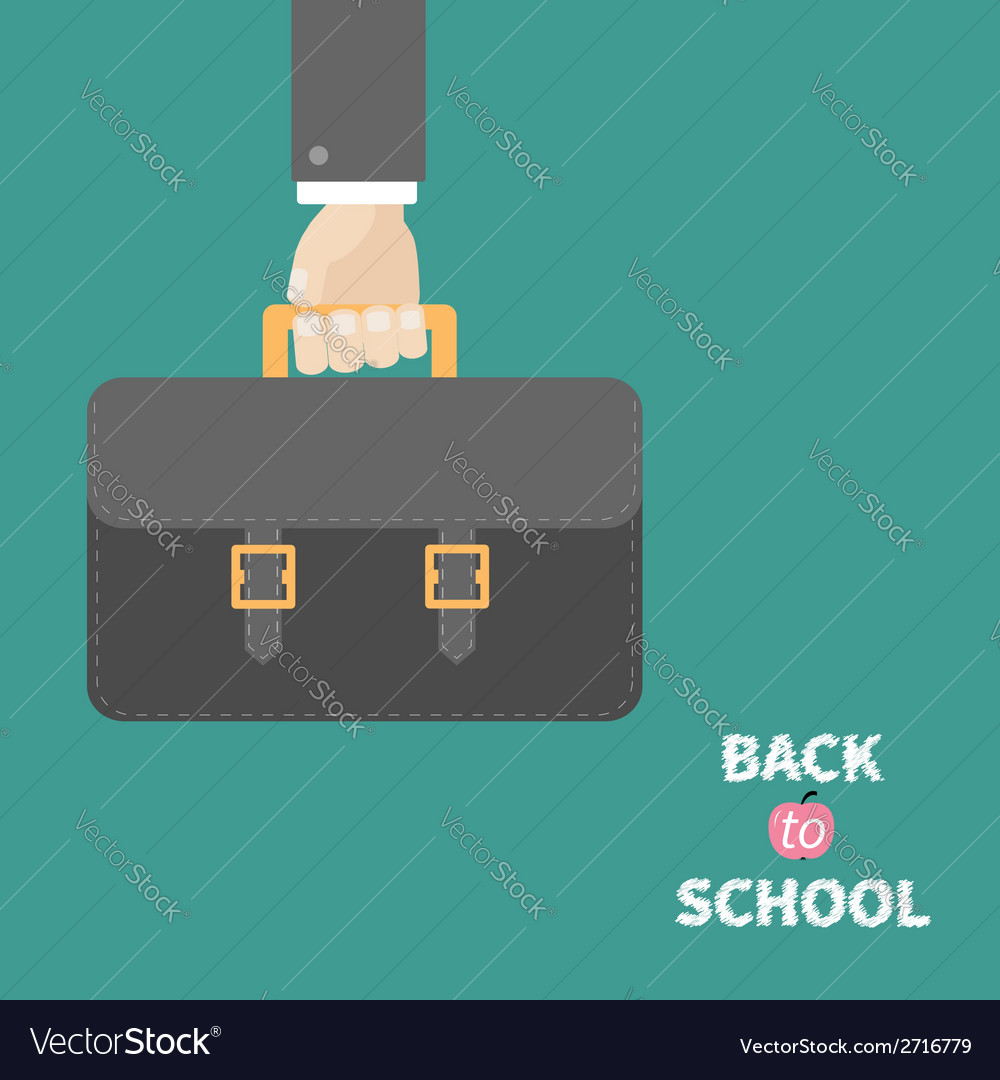 Hand holding black schoolbag briefcase flat design vector | Price: 1 Credit (USD $1)