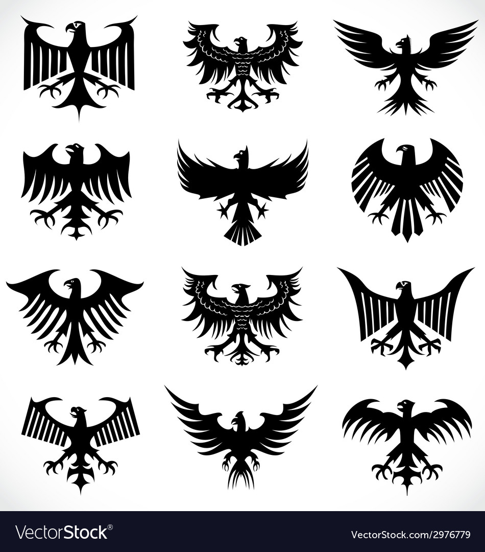 Heraldic eagle silhouettes vector | Price: 1 Credit (USD $1)