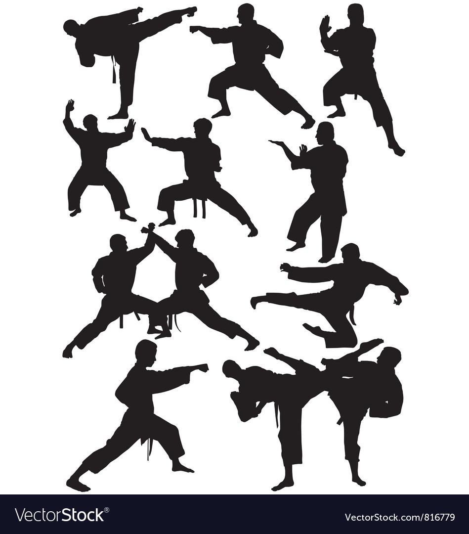 Karate silhouettes vector | Price: 1 Credit (USD $1)