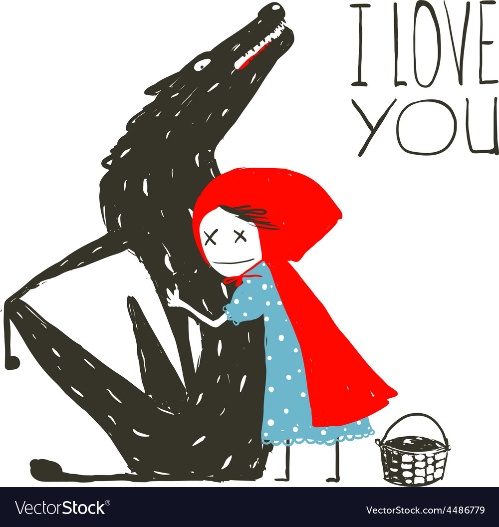 Little red riding hood loves black wolf vector | Price: 1 Credit (USD $1)