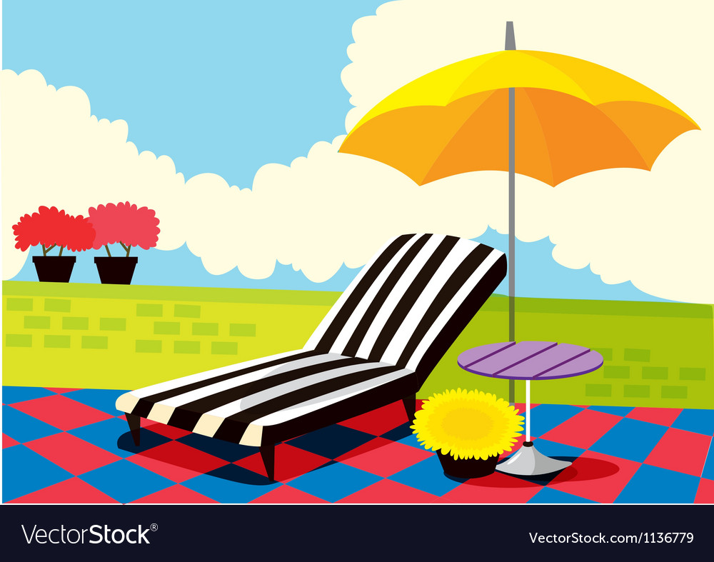 Relaxing chair and umbrella vector | Price: 1 Credit (USD $1)