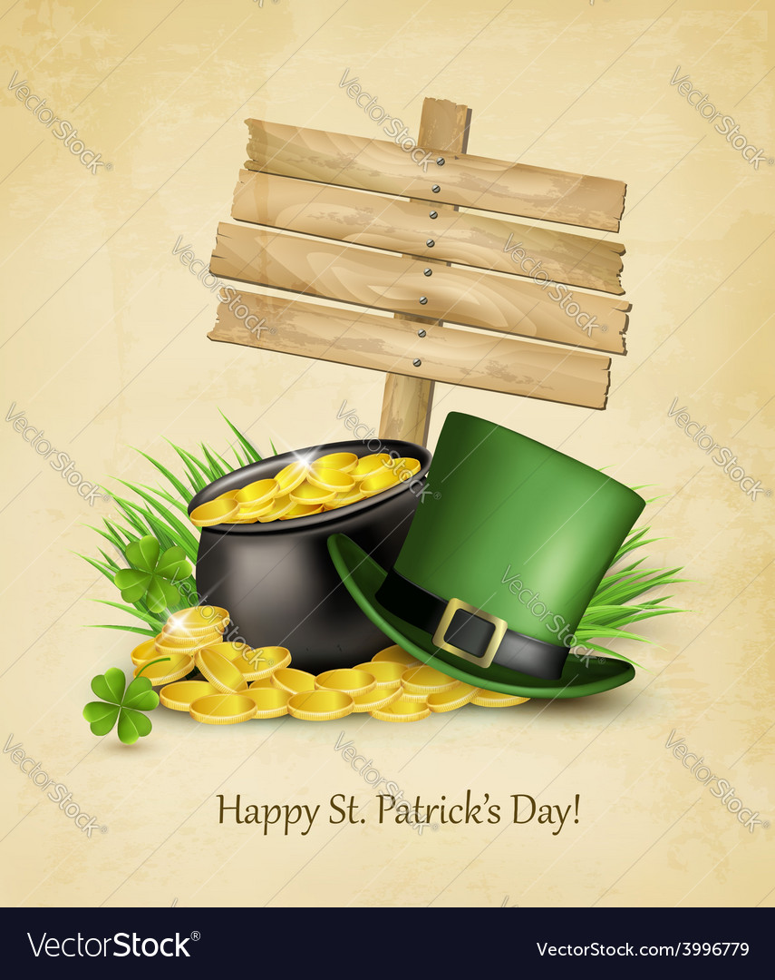 Saint patricks day background with a sign clover vector | Price: 3 Credit (USD $3)