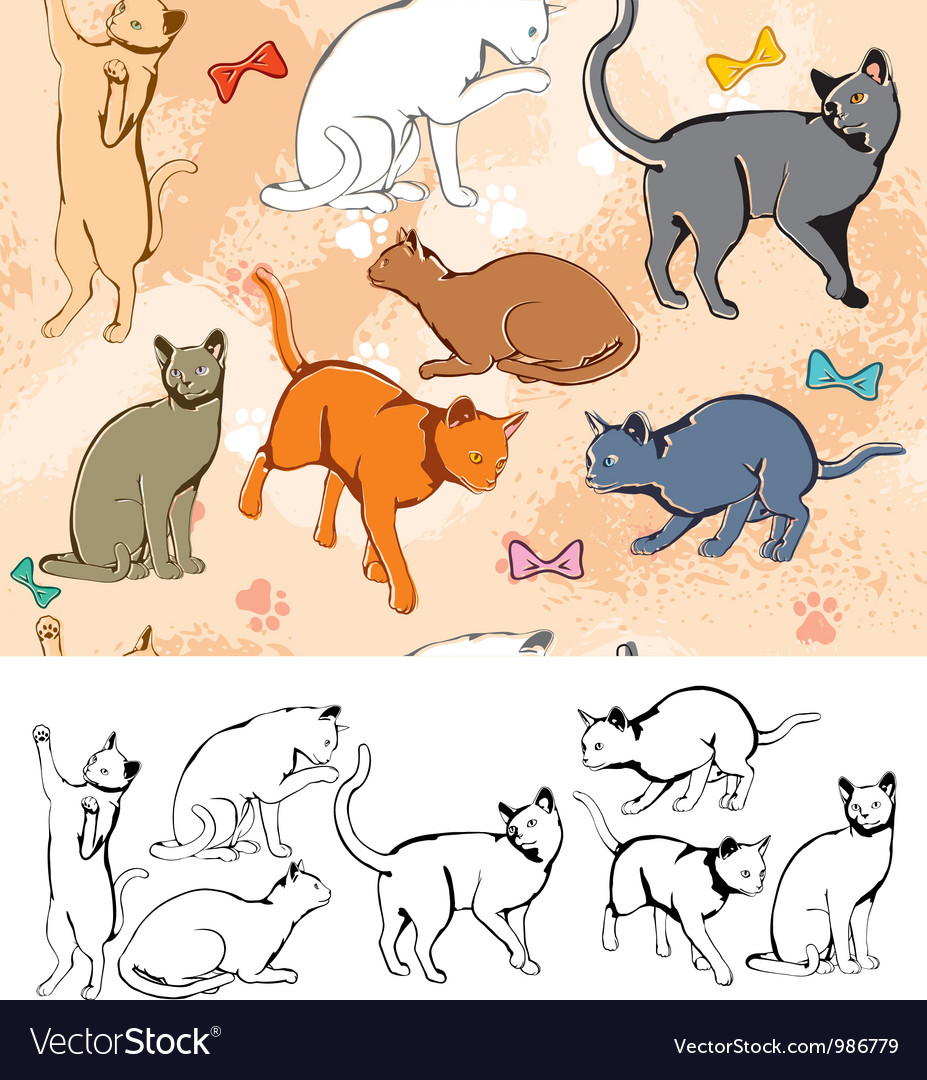 Seamless parttern cats vector | Price: 1 Credit (USD $1)