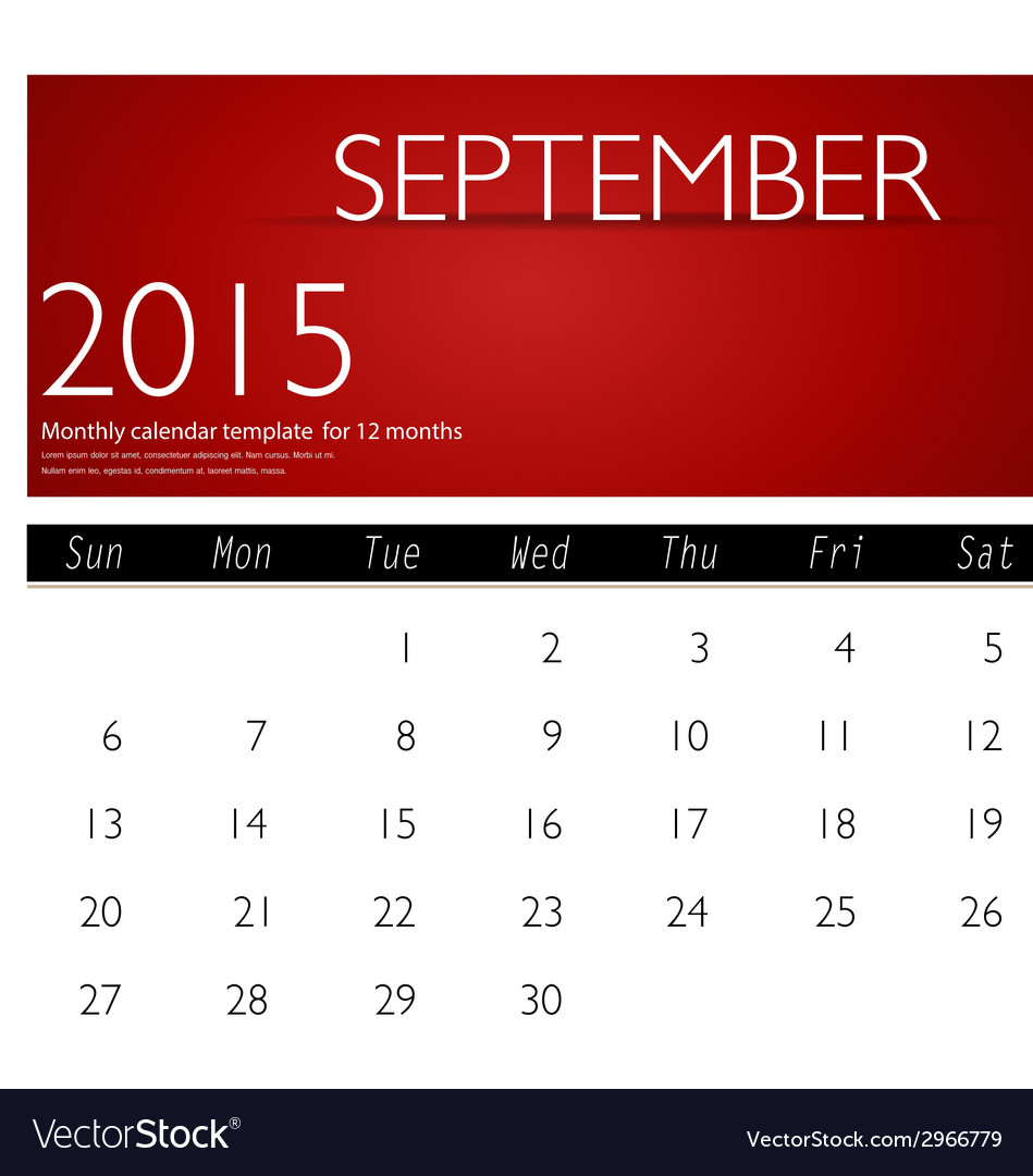 Simple 2015 calendar september vector | Price: 1 Credit (USD $1)