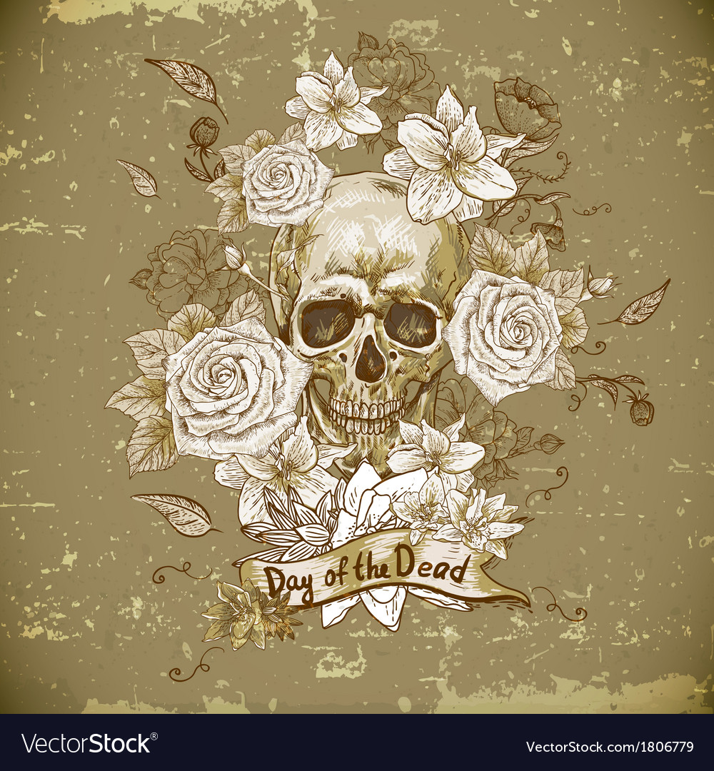 Skull with roses day of the dead vector | Price: 1 Credit (USD $1)