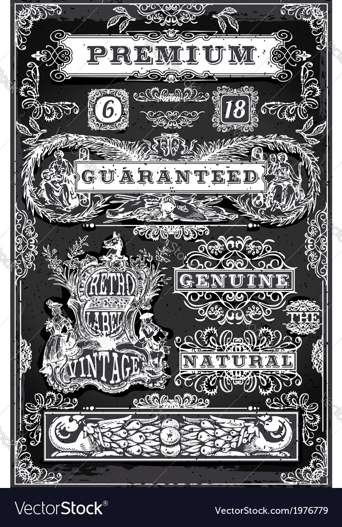 Vintage hand drawn graphic labels on blackboard vector | Price: 1 Credit (USD $1)