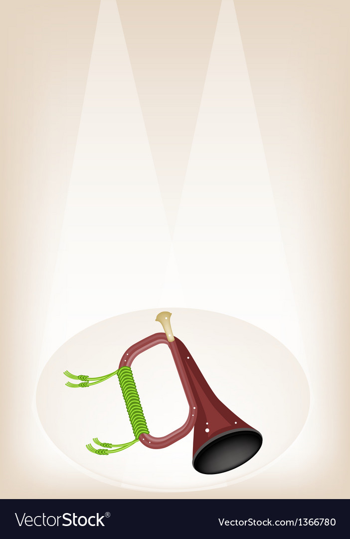 A musical bugle on brown stage background vector   Price: 1 Credit (USD $1)
