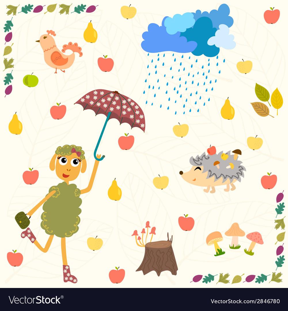 Autumn landscape vector | Price: 1 Credit (USD $1)