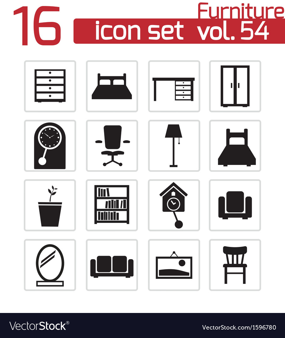 Black furniture icons set vector | Price: 1 Credit (USD $1)