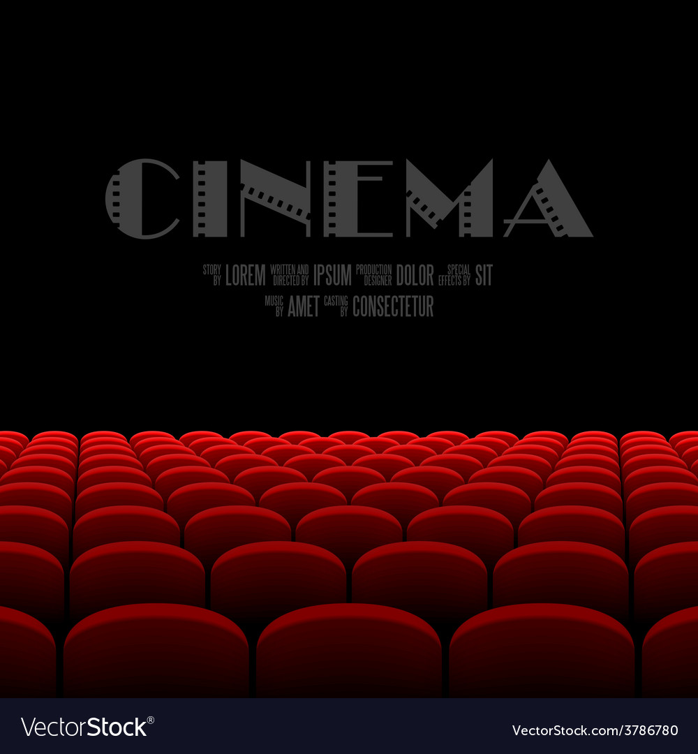 Cinema auditorium with black screen and red seats vector | Price: 1 Credit (USD $1)