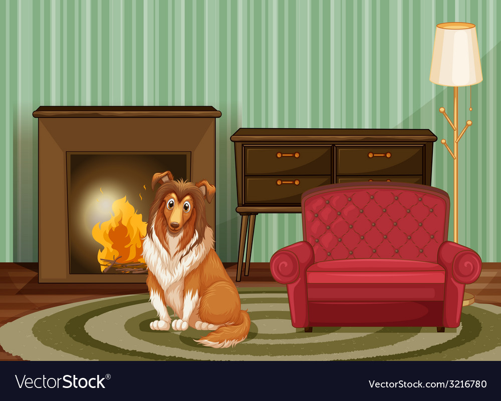 Dog and living room vector | Price: 3 Credit (USD $3)