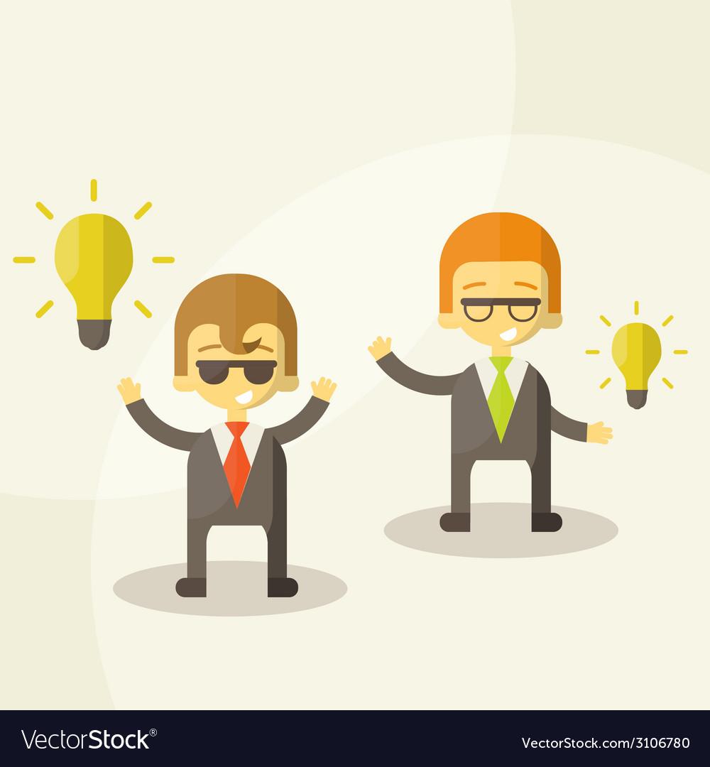 Lamp of idea concept businessman partners vector   Price: 1 Credit (USD $1)