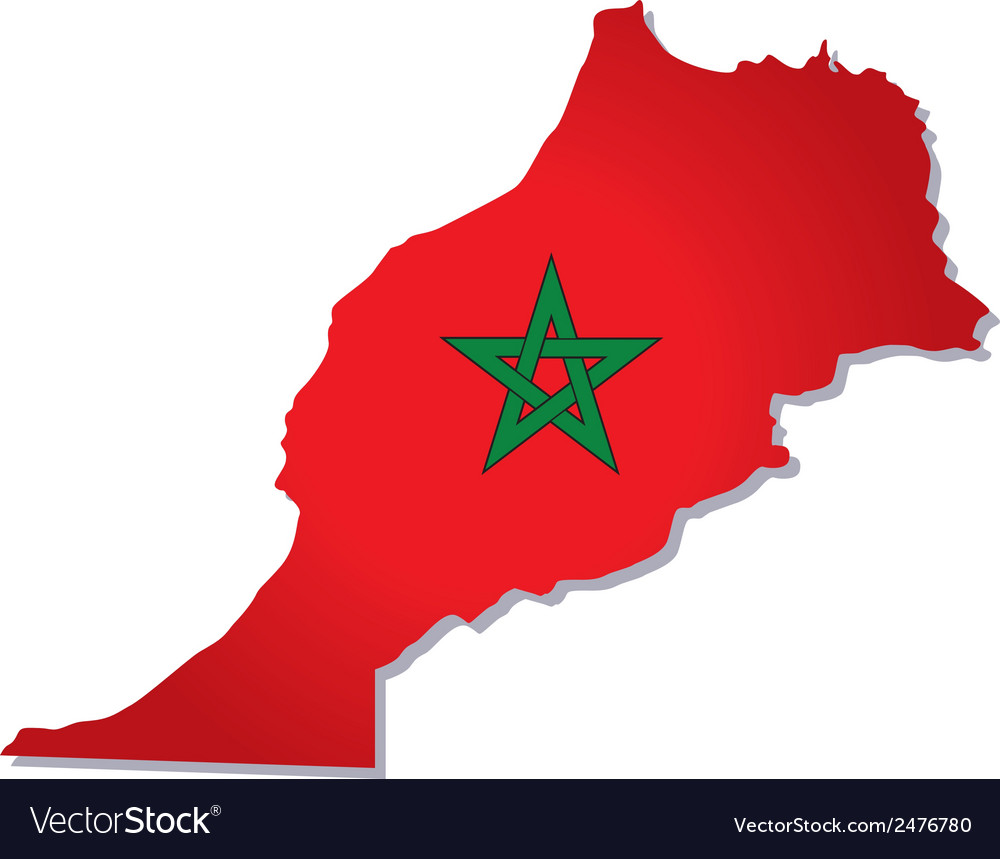 Morocco africa map flag vector | Price: 1 Credit (USD $1)