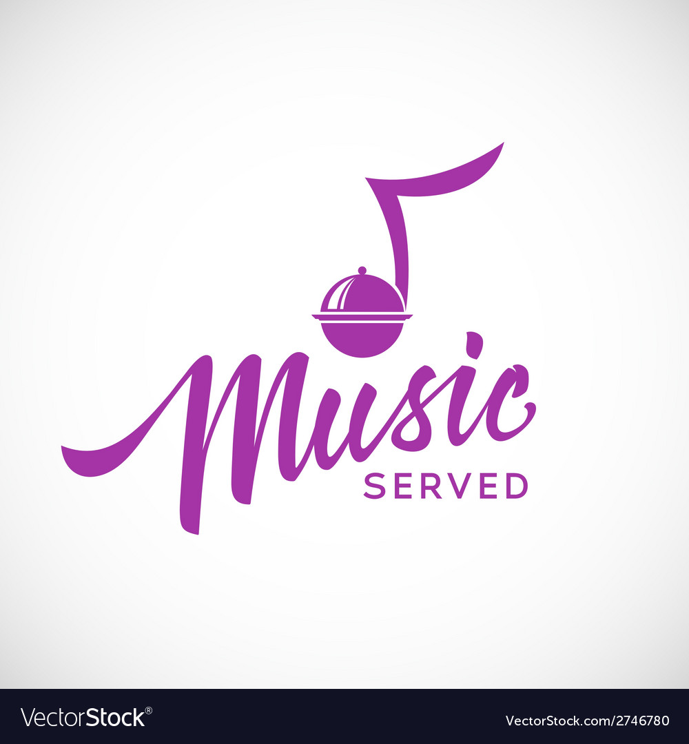 Music served concept icon with hand lettering vector | Price: 1 Credit (USD $1)