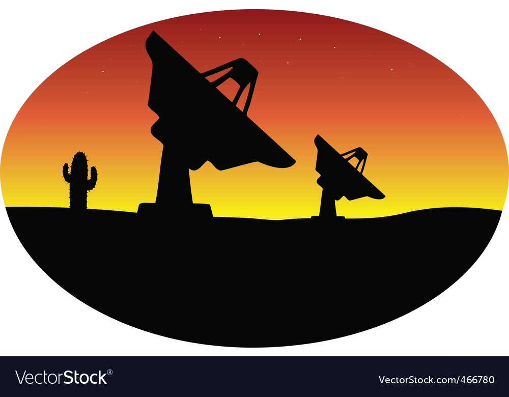 Satellite dish desert vector | Price: 1 Credit (USD $1)