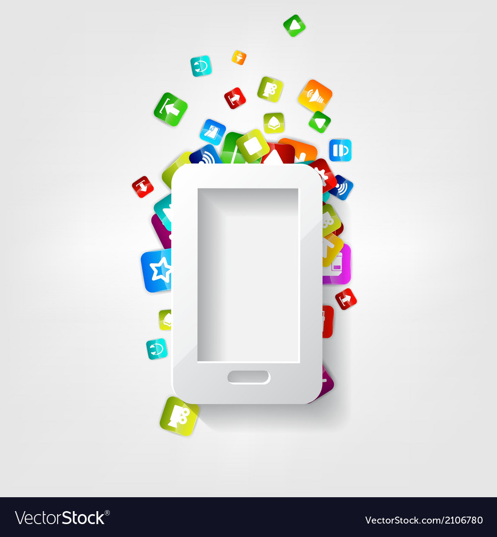 Smartphone icon cellphone application button vector | Price: 1 Credit (USD $1)